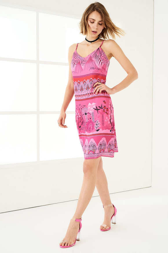 1210033 Pink Patterned Slip Dress