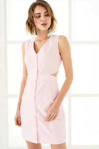 1210039 Pink Waist Decollete Dress