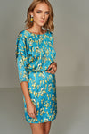 1210186 Blue Flower Patterned Dress