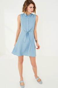 1210056 Blue Open Waist Shirt Dress