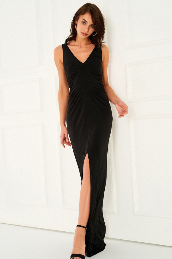 1310150 Black Drape Slit Detail Dress