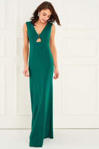 1310063 Green Open Waist Dress