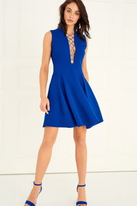 1310052 Blue Lace-up Skater Dress