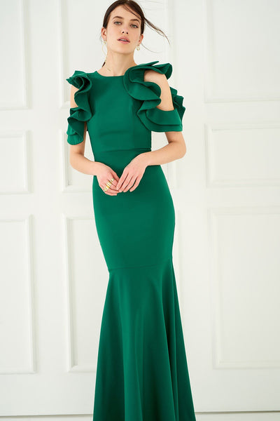 1310039 Green Volan Sleeve Dress