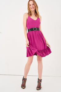 1210044 Fuschia Spaghetti Strap Dress