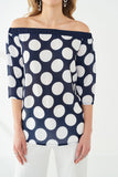 3020100 Navy Blue-White Polka Dot Blouse