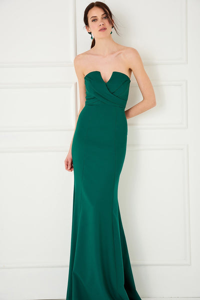 1310040 Green Chest Draped Dress