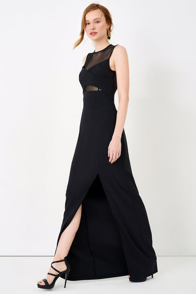 1310026 Black Tulle Decolleted Dress