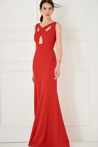 1310064 Red Open Waist Dress