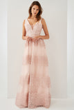 1310266 Pink Embroidered Tulle Dress