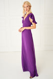 1310031 Purple Pleated Sleeve Dress