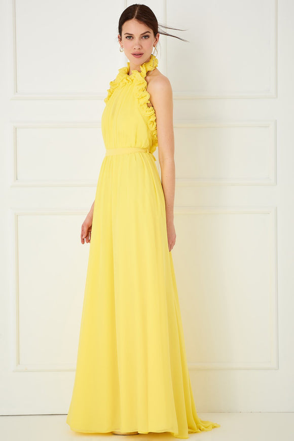 1310120 Yellow Volan Sleeveless Dress