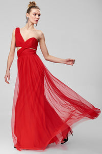 1310121 Red Draped One Shoulder Dress
