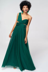 1310122 Green Draped One Shoulder Dress