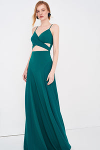 1310018 Green Open Waist Strap Dress