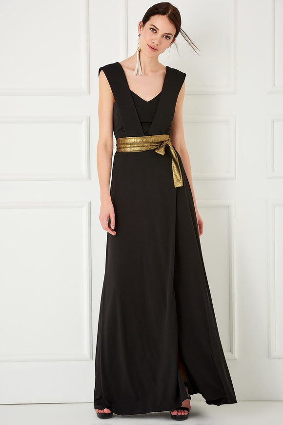 1310127 Black Gilded Waist Dress