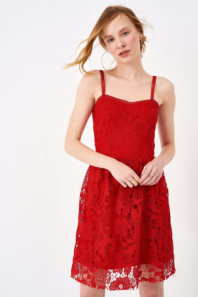 1210002 Red Lace Dress