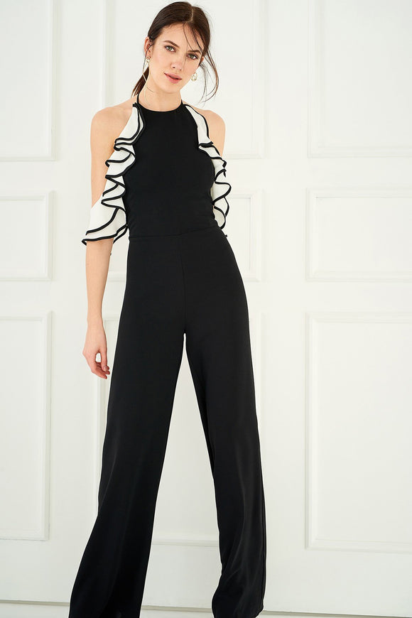 5212064 Black-White Ruffle Sleeve Jumpsuit