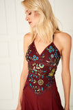 1310020 Bordeaux Embroidered Slip Dress