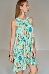 1210021 Green Floral Sleeveless Dress
