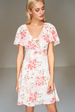 4510084 White Floral Shawl Collar Dress