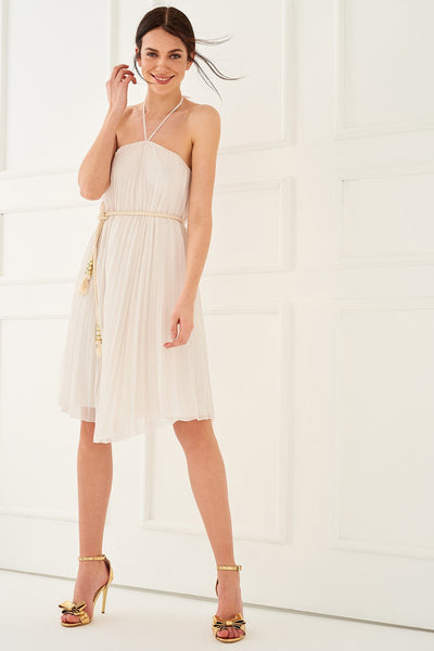 1210006 White Pleated Strap Dress