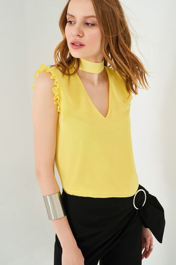 3020106 Yellow Choker Blouse