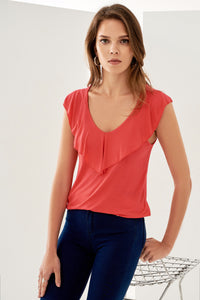 3020110 Coral Frill Blouse