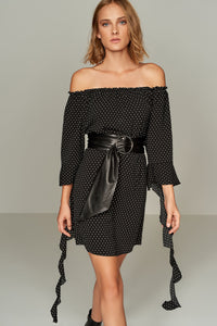 1210014 Black Star Printed Off-Shoulder Dress