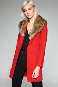3550169 Red Faux Fur Collar Coat