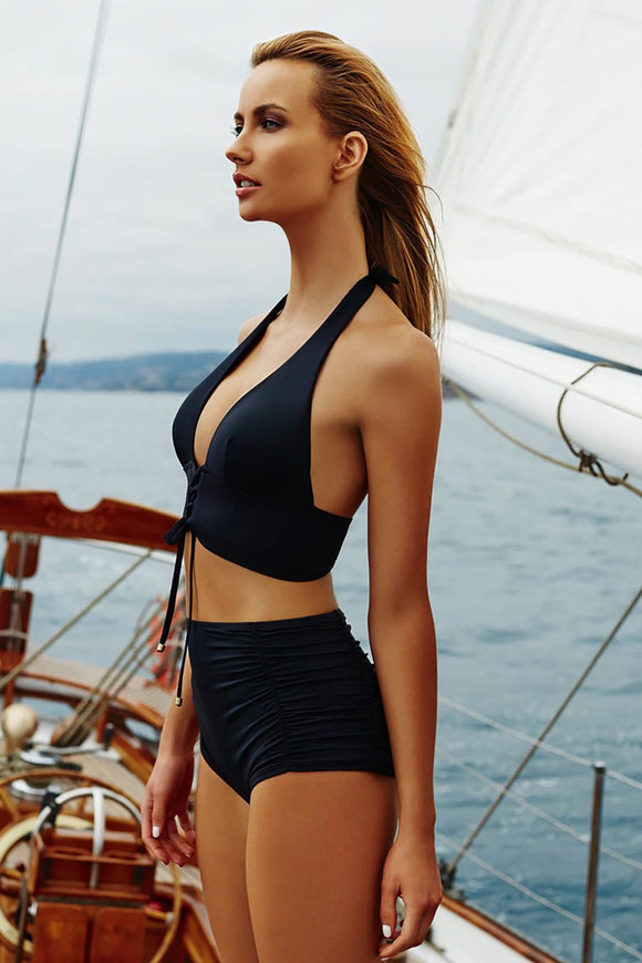 15913 black draped high waist bikini suit