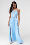 1210467 Blue Double Slit Maxi Dress