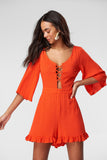 5212063 Orange Frilly Playsuit