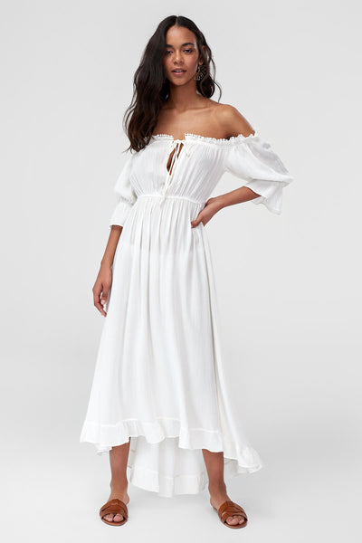 1210494 Off-White Hi Low Bardot Maxi Dress