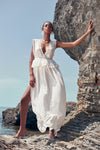 1210464 Off-White Lace Slit Maxi Dress