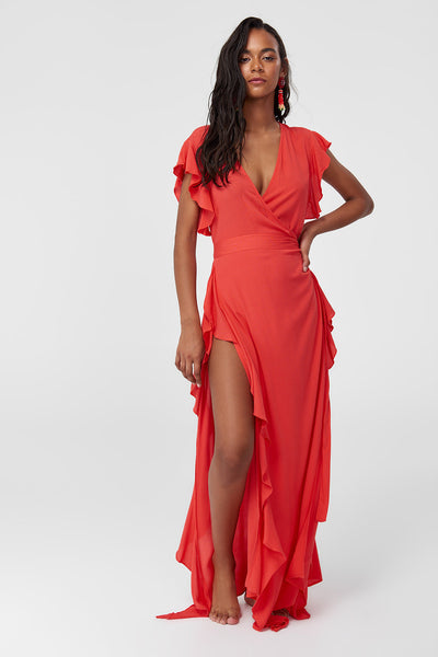 1210536 Pomegranate Ruffle Slit Maxi Dress