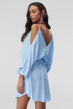1210433 Blue Tie Waist Cold Shoulder Dress