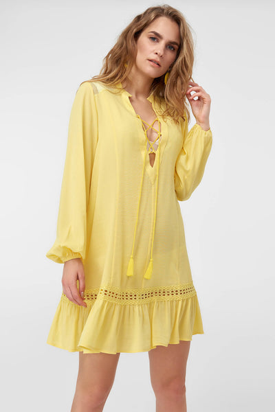 1210436 Yellow Lace Up Gypsy Dress