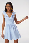 1210699 Blue Striped Collar Dress