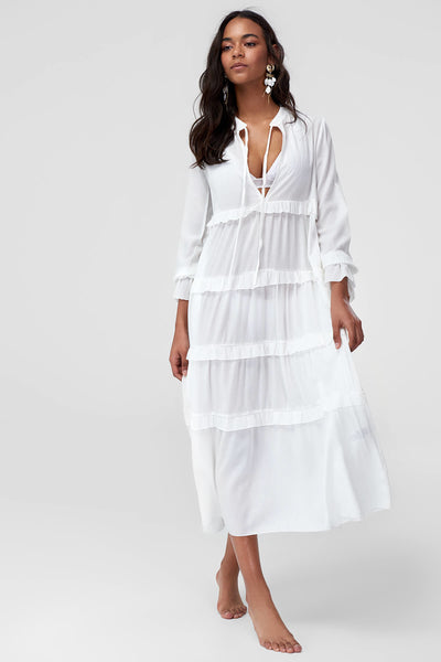 1210496 Off-White Tiered Midi Dress