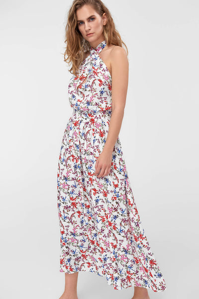 1210401 Multi Coloured Halterneck Floral Maxi Dress