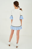 1210063 White-Blue Tent Dress