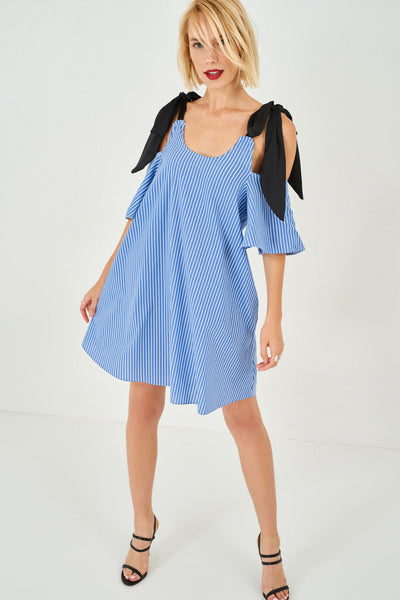 1210064 Blue Striped Shoulder Detail Dress