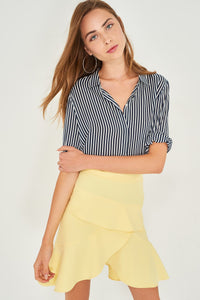 2910074 Yellow Layered Mini Skirt