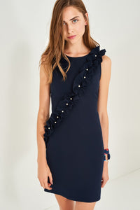 4510112 Navy Pearl Frill Detail Dress