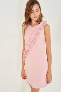4510113 Pink Pearl Frill Detailed Dress