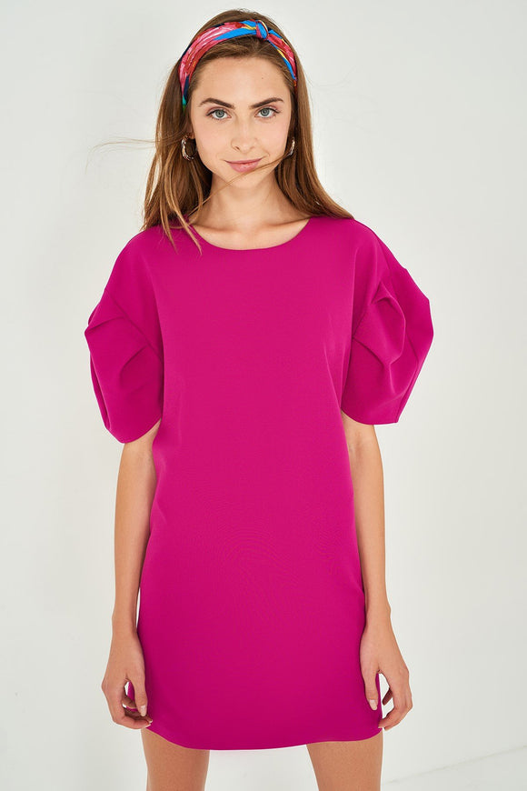 4510114 Fuschia Puff Sleeve Dress