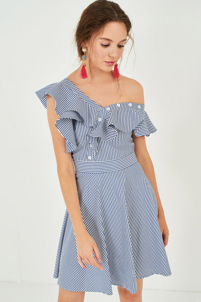 1210065 Navy Striped Frill Detailed Dress
