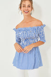 3020117 Blue Long Ruffle Blouse