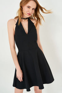 1210068 Black Halterneck Skater Dress
